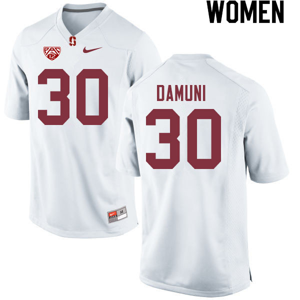 Women #30 Levani Damuni Stanford Cardinal College Football Jerseys Sale-White